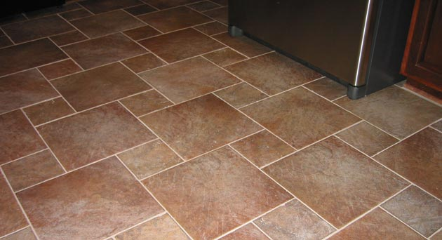 Newly cleaned tile and grout floor in Las Vegas home.