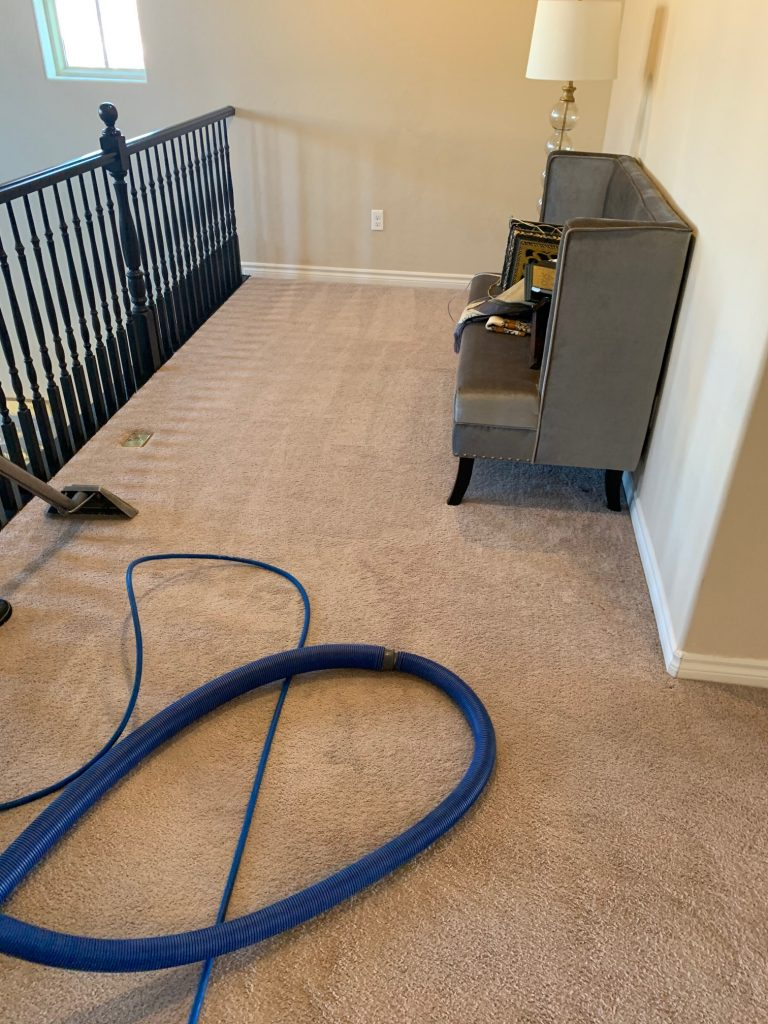 Upstairs of home getting it's carpets steam cleaned.